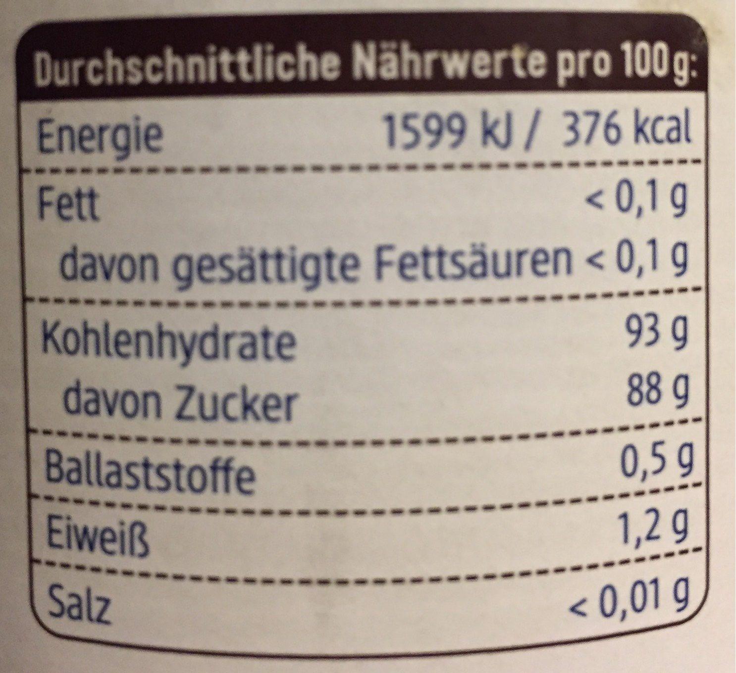 DM Bio Kokosblüten Zucker - Nutrition facts