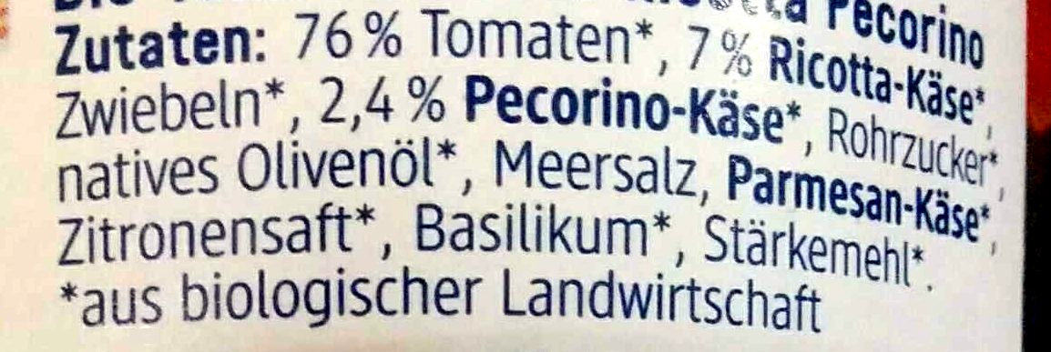 Ricotta percorino - Ingrédients - de