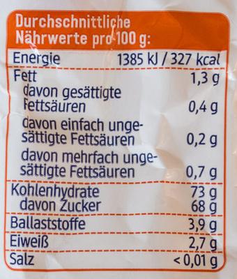 Rosinen - Nutrition facts - de