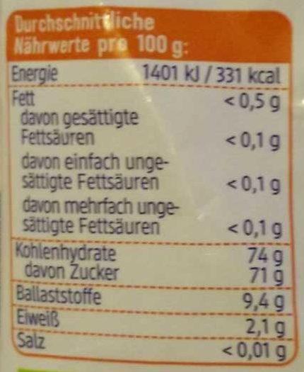 Ananas Stücke - Voedingswaarden - de