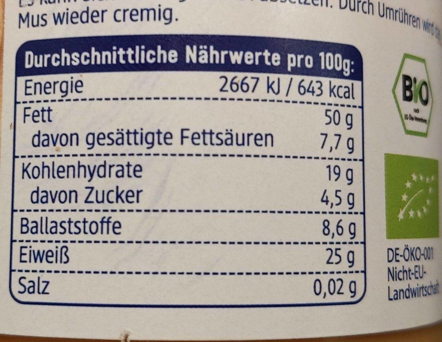 Erdnussmus - Informations nutritionnelles - de