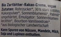 Schokocreme zartbitter - Ingredients