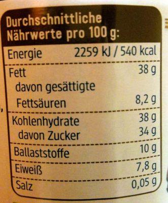 Zartbitter - Informations nutritionnelles - de