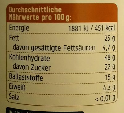 Erdmandeln geröstet und gemahlen - Informations nutritionnelles