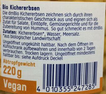 DM Bio Kichererbsen - Zutaten - de