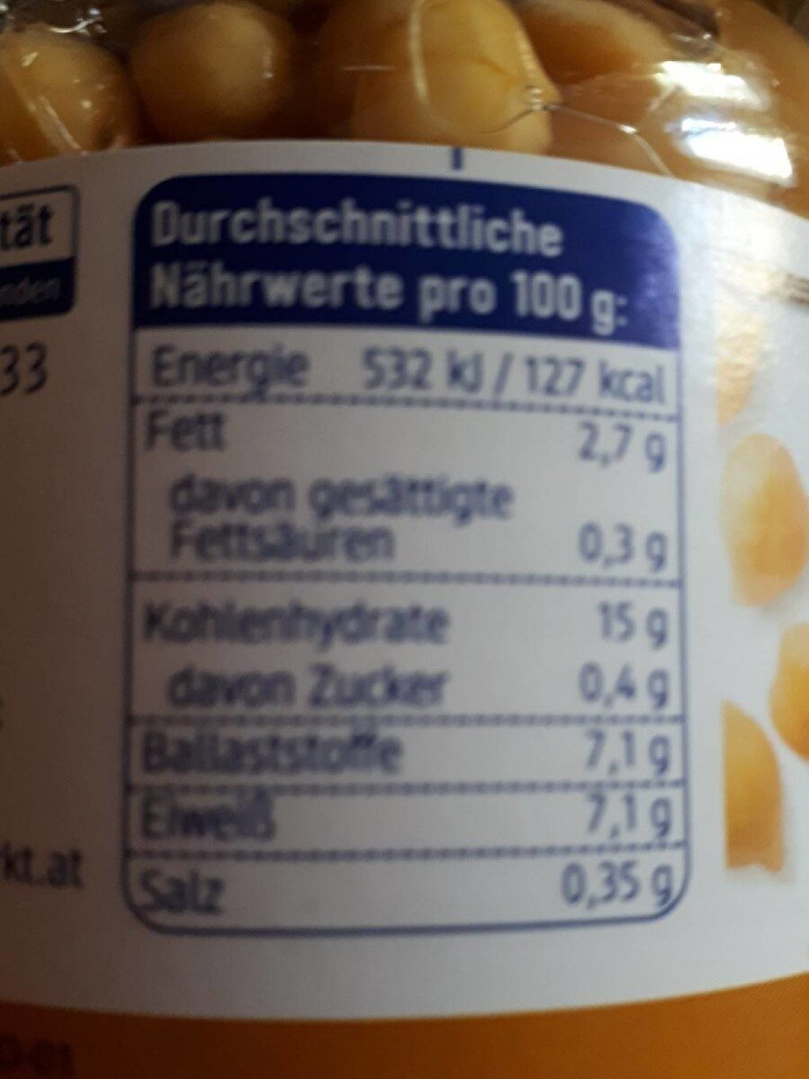 DM Bio Kichererbsen - Nährwertangaben - de