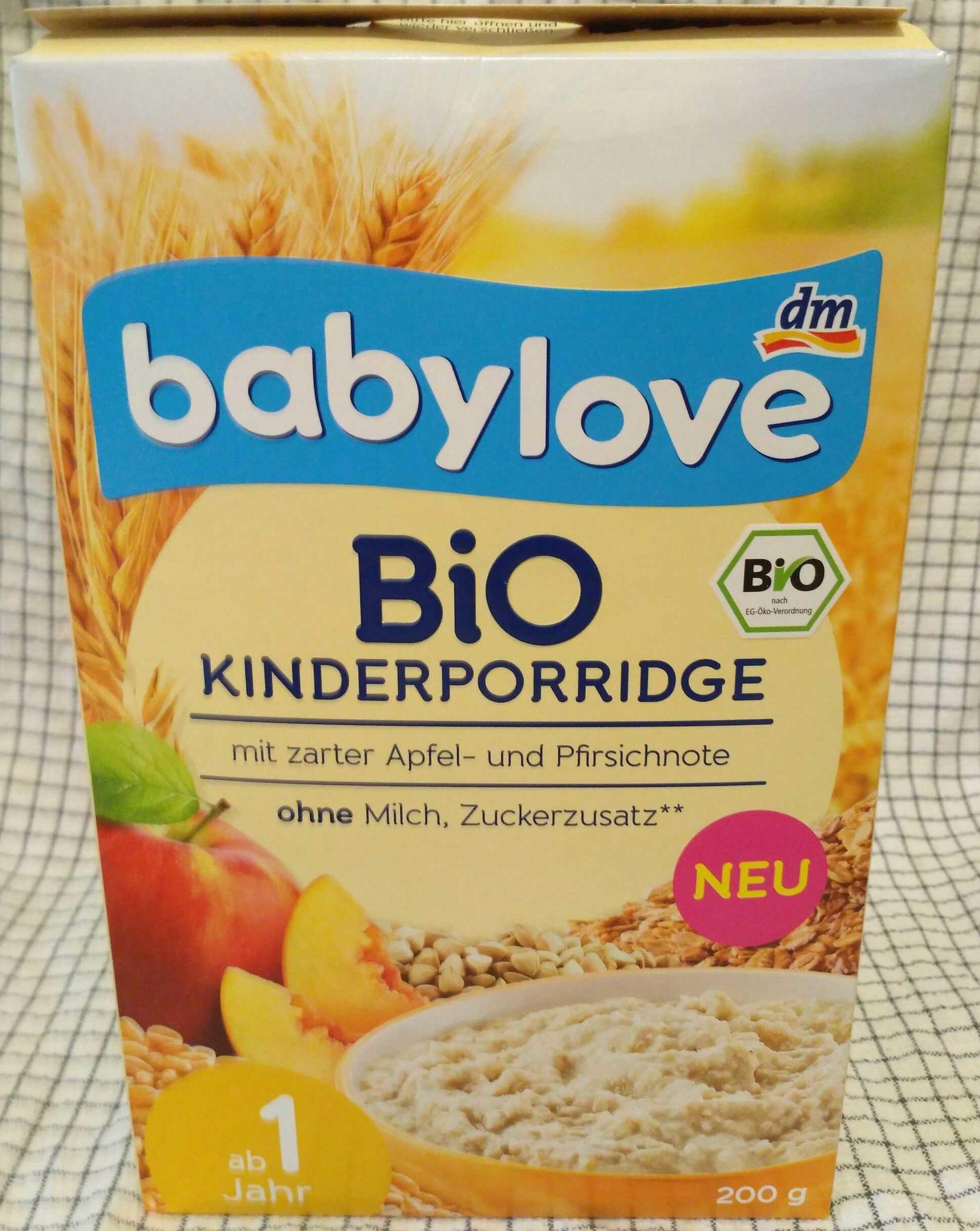Bio Kinderporridge mit zarter Apfel- und Pfirsichnote ohne Milch, Zuckerzusatz - Product - de