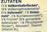Bio Kinderporridge mit zarter Apfel- und Pfirsichnote ohne Milch, Zuckerzusatz - Ingredients - de