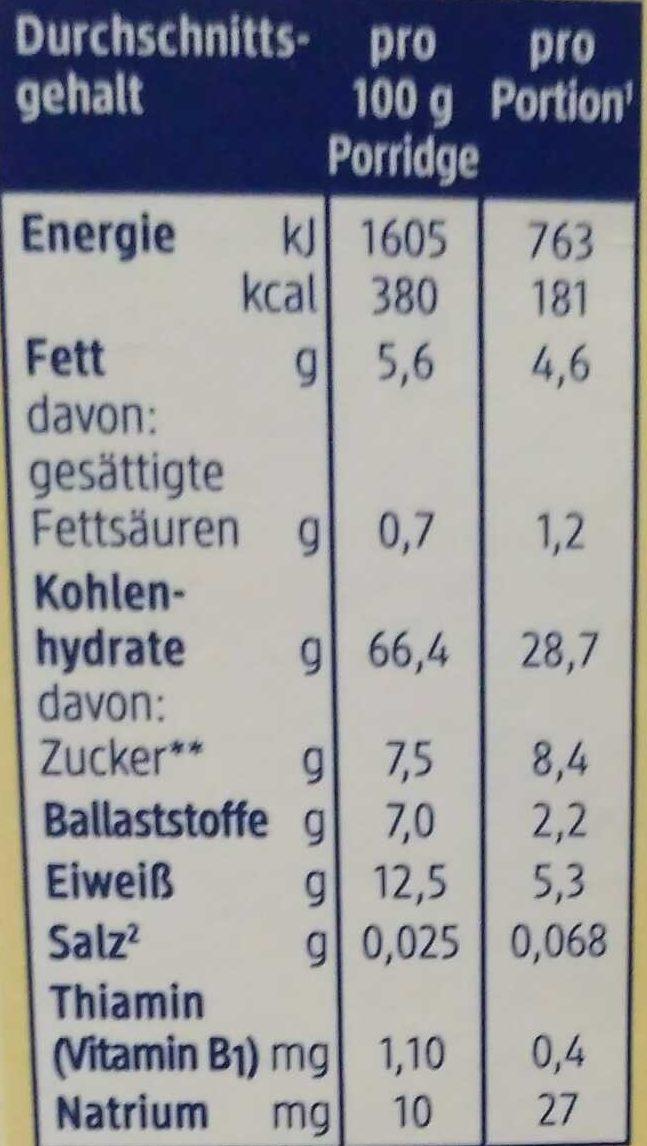 Bio Kinderporridge mit zarter Apfel- und Pfirsichnote ohne Milch, Zuckerzusatz - Nutrition facts - de