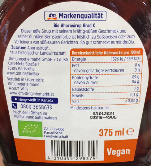 Ahornsirup Grad C - Ingredients - de