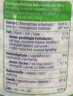 Bio Reiswaffeln, Natur - Valori nutrizionali - de