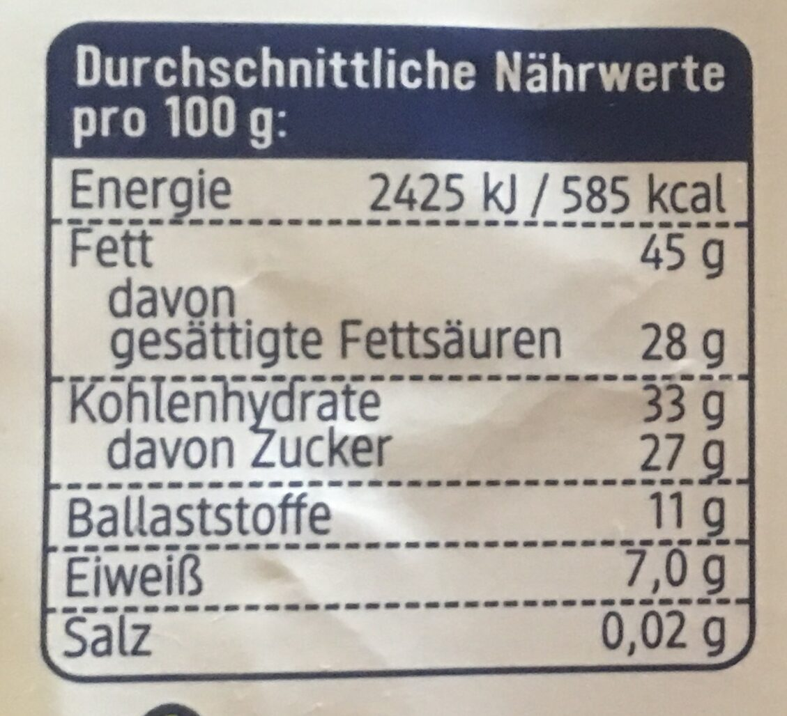 Feine Bitter Schokolade - Nutrition facts