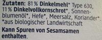 Dinkel Zwieback - Ingredientes - de