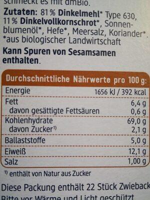 Dinkel Zwieback - Informação nutricional - de