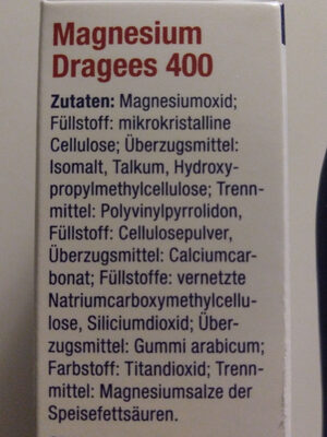 Magnesium Dragees 400 - Inhaltsstoffe - de