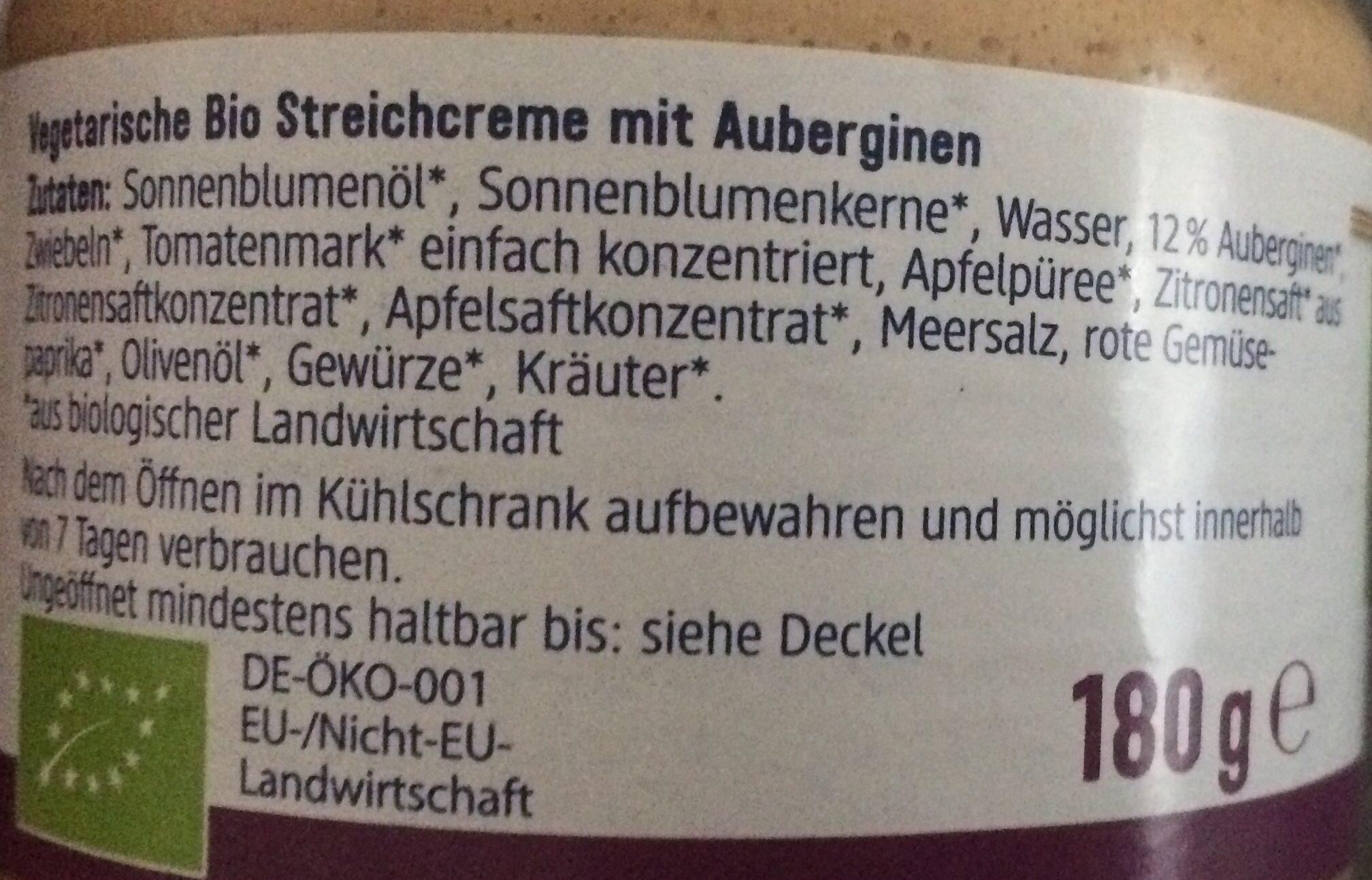 Streichcreme Aubergine - Ingredients