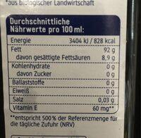 Sonnenblumenöl Nativ - Nutrition facts - de