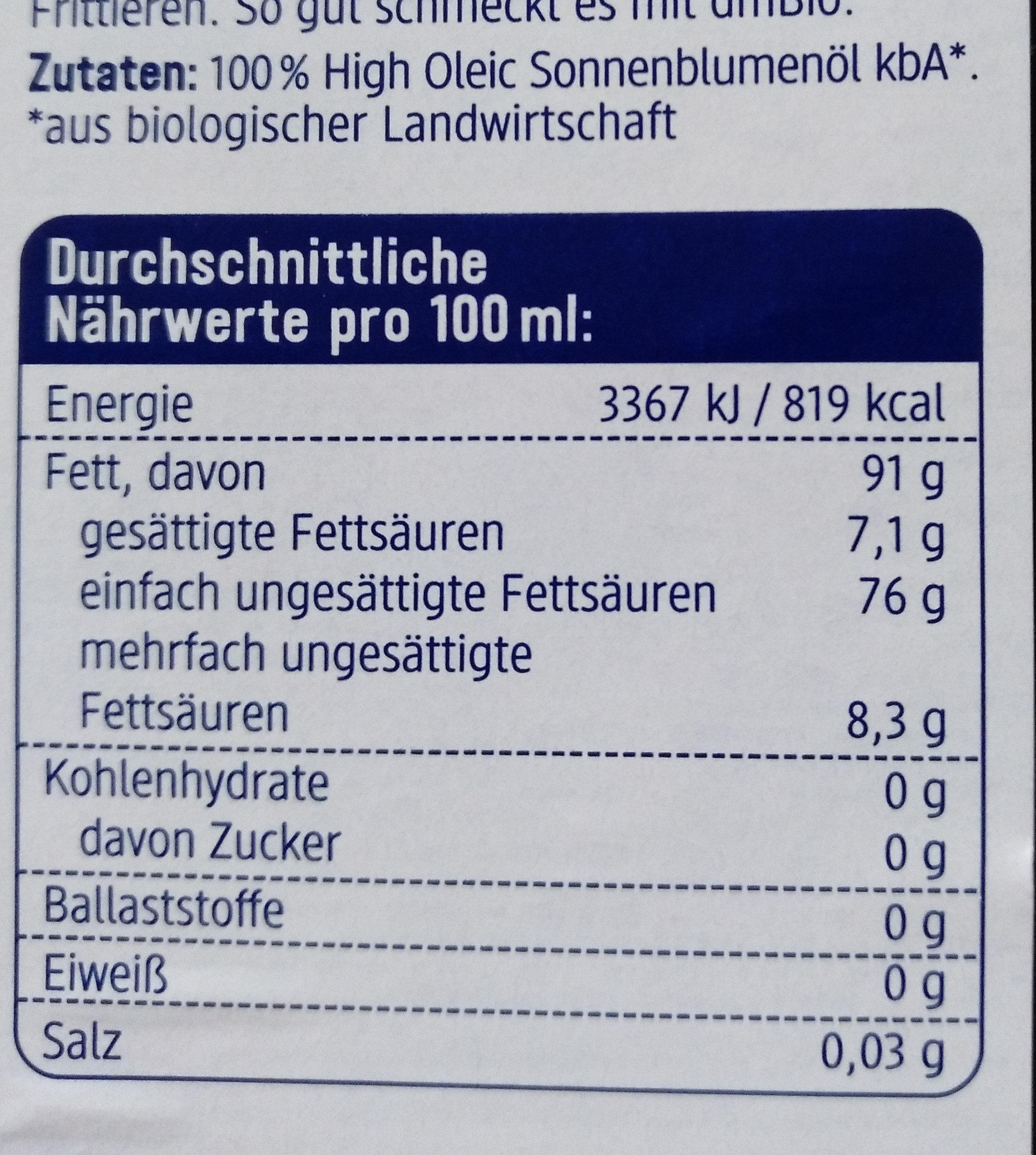 Bratöl hoch erhitzbar - Nutrition facts