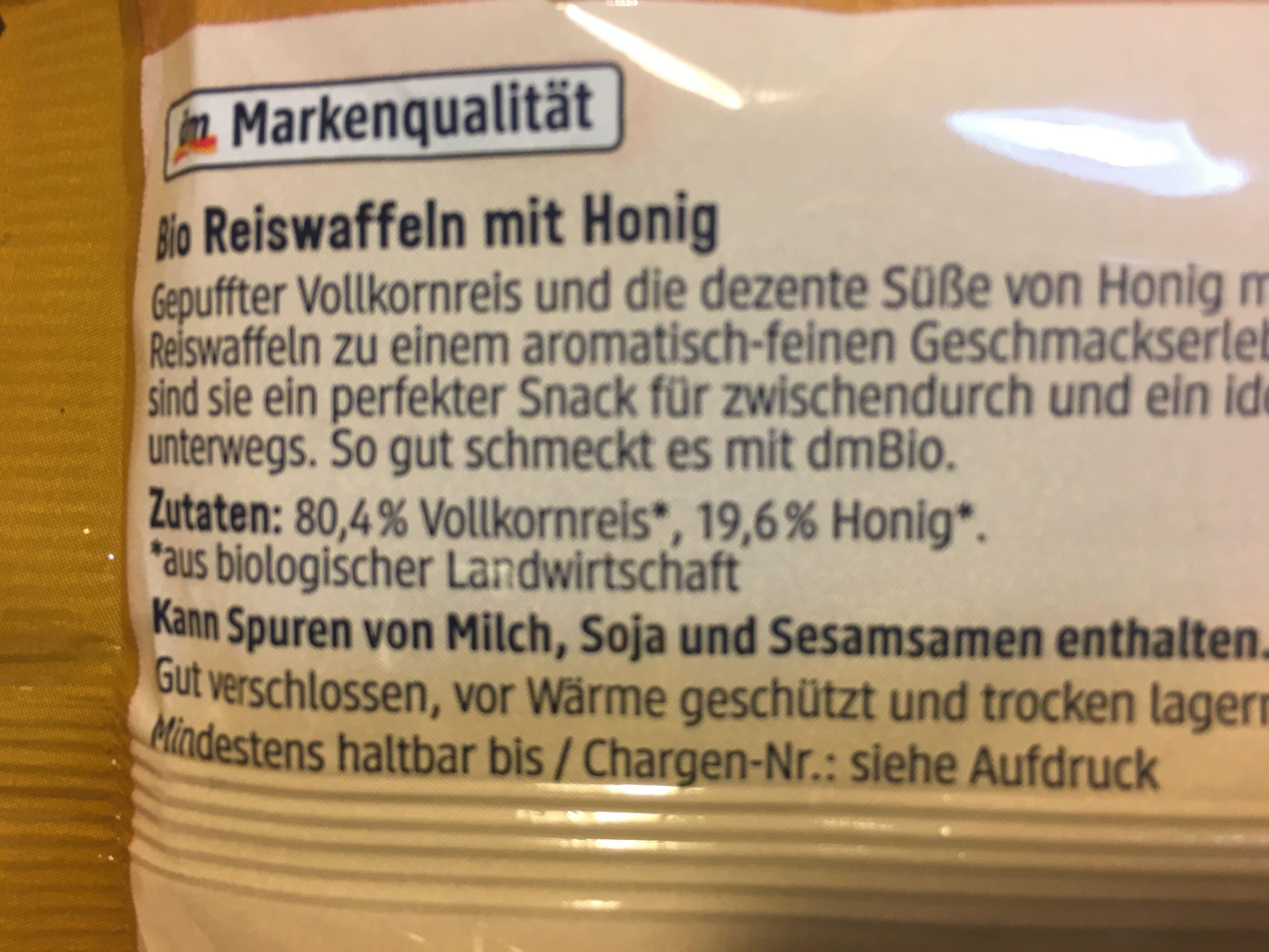 Honig Reiswaffeln - Ingrédients - de