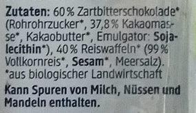 Schoko Reiswaffeln Zartbitter - Ingrédients