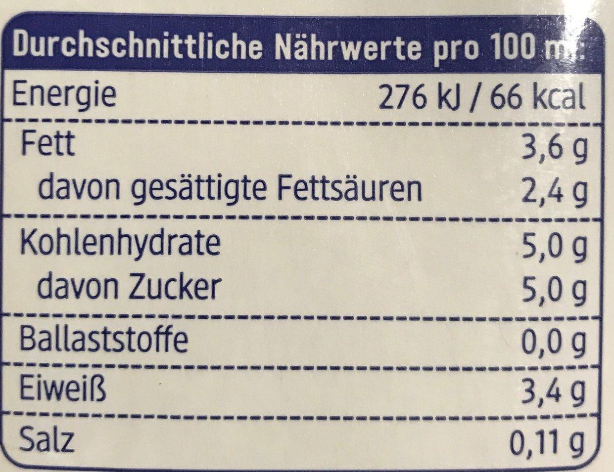 Haltbare Alpenmilch 3,5% Fett - Informations nutritionnelles - fr