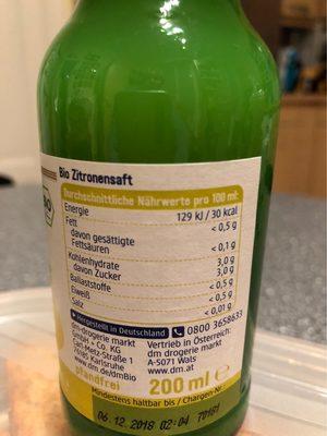 Zitronensaft - Informations nutritionnelles - fr
