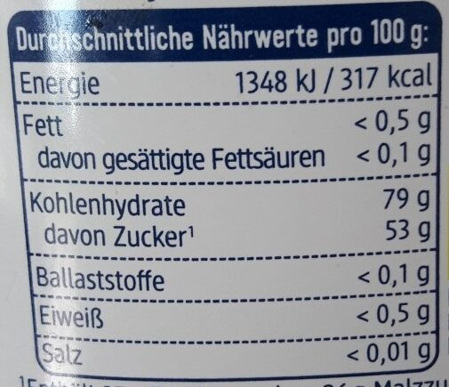 Reis Sirup - Nutrition facts - de