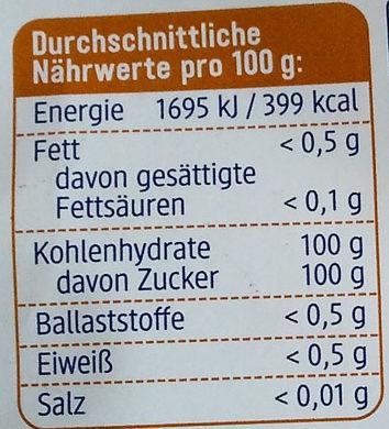 DM Bio Rohrohr Zucker - Nutrition facts