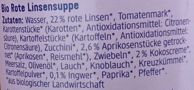 Cremesuppe rote Linse Aprikose & Kokos - Ingrediënten - de