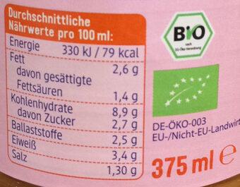 Cremesuppe rote Linse Aprikose & Kokos - Voedingswaarden - de