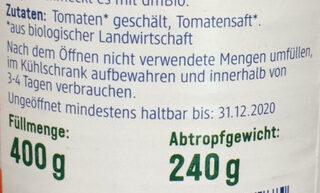 Ganze Tomaten geschält - Inhaltsstoffe - de