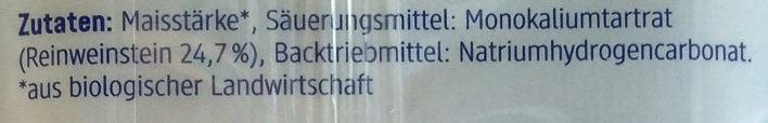 Backpulver mit Reinweinstein - Inhaltsstoffe