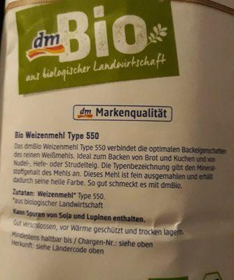 Weizenmehl Type 550 - Ingrédients