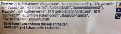 Frucht Riegel - Ingrédients