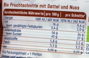 Nuss Fruchtschnitte - Nutrition facts - de
