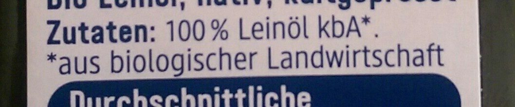 Leinöl Nativ - Ingrédients