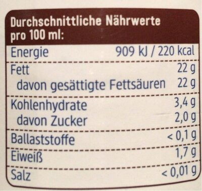 Kokosmilch (lait de coco) - Nährwertangaben - de