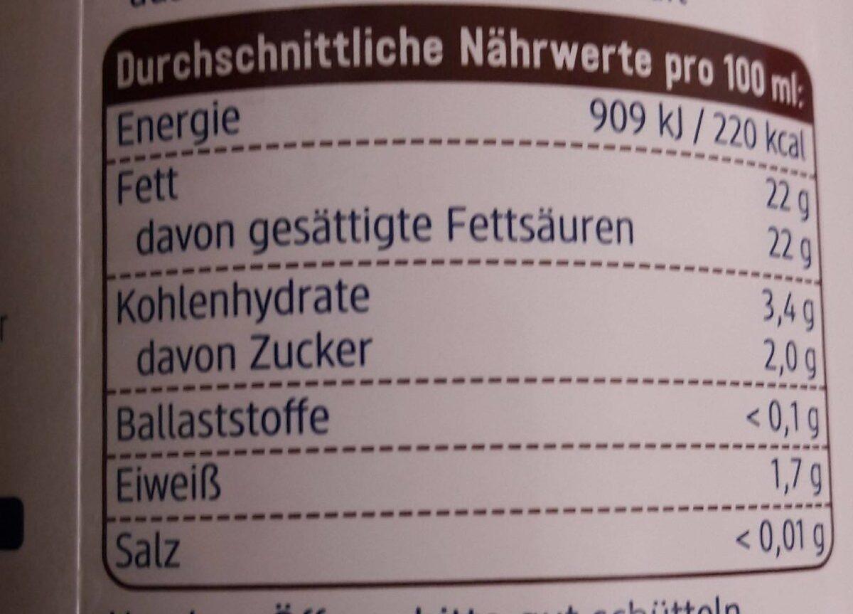 Kokosmilch - Informations nutritionnelles