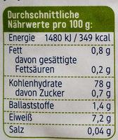Milchreis - Informations nutritionnelles - de