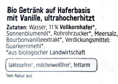 Hafer Drink Vanille - Ingrédients