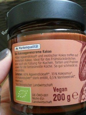 Kokos Aufstrich mit Kakao - Ingrédients - fr