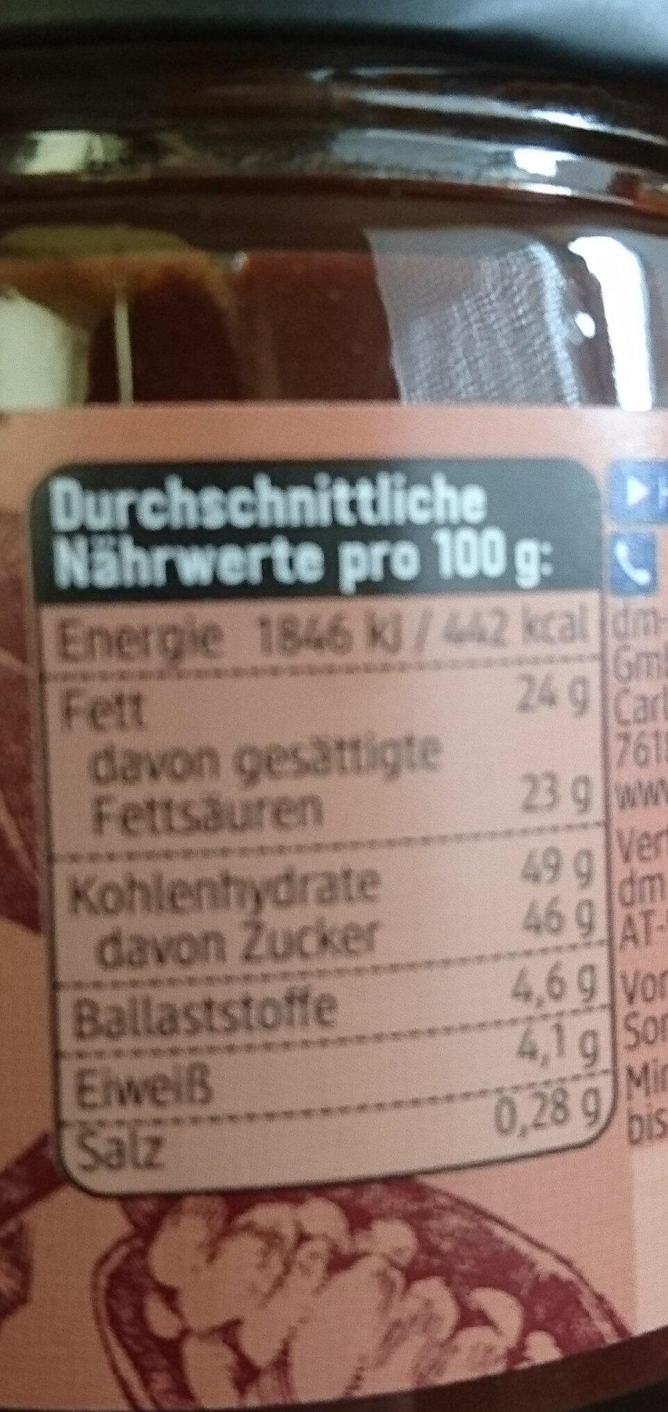 Kokos Aufstrich mit Kakao - Informations nutritionnelles - fr