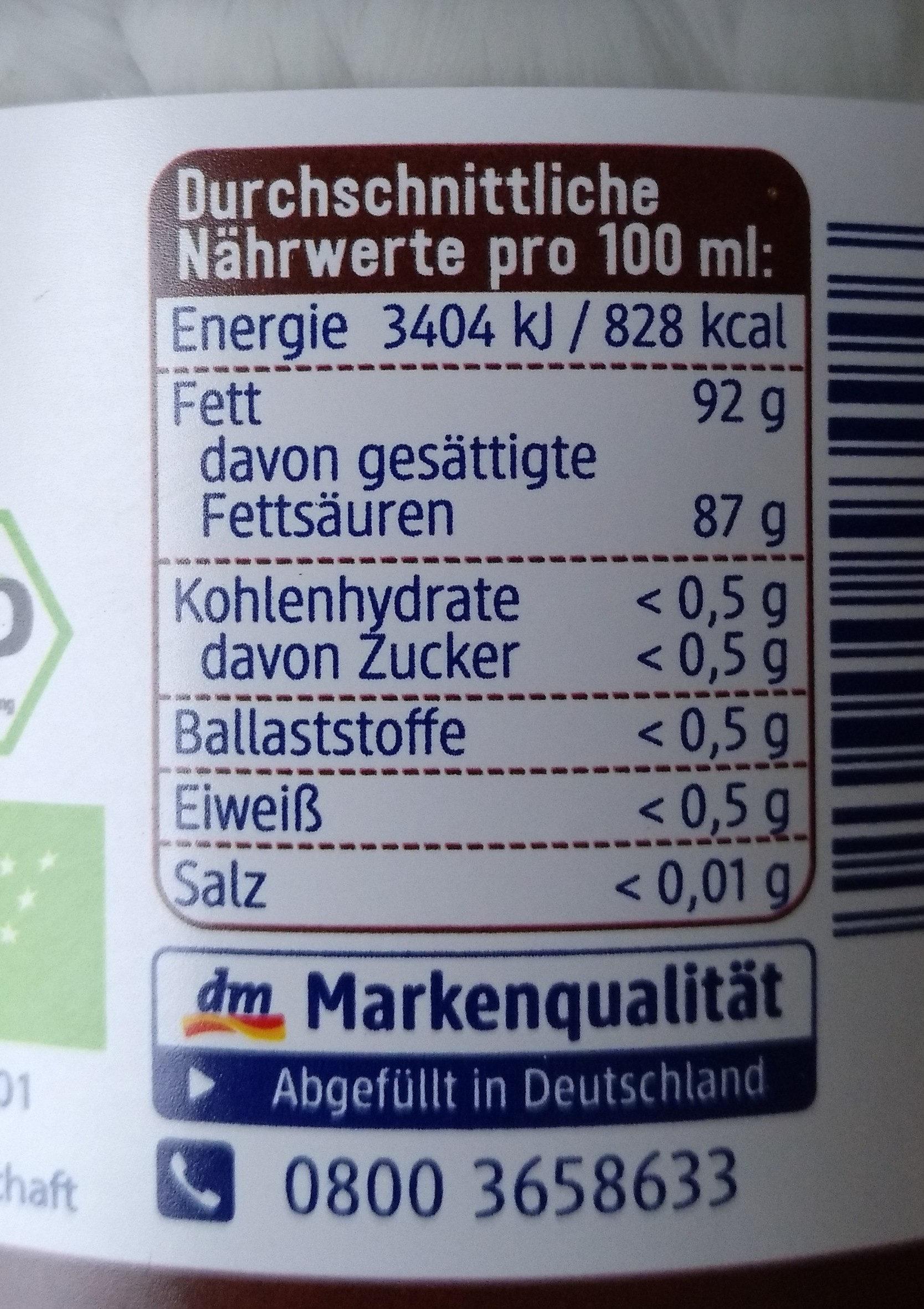 Kokosöl nativ - Informations nutritionnelles