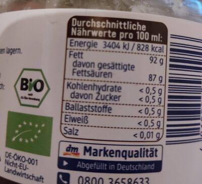 Kokosöl nativ - Nutrition facts - en