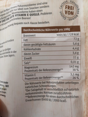Pekannuss - Nutrition facts