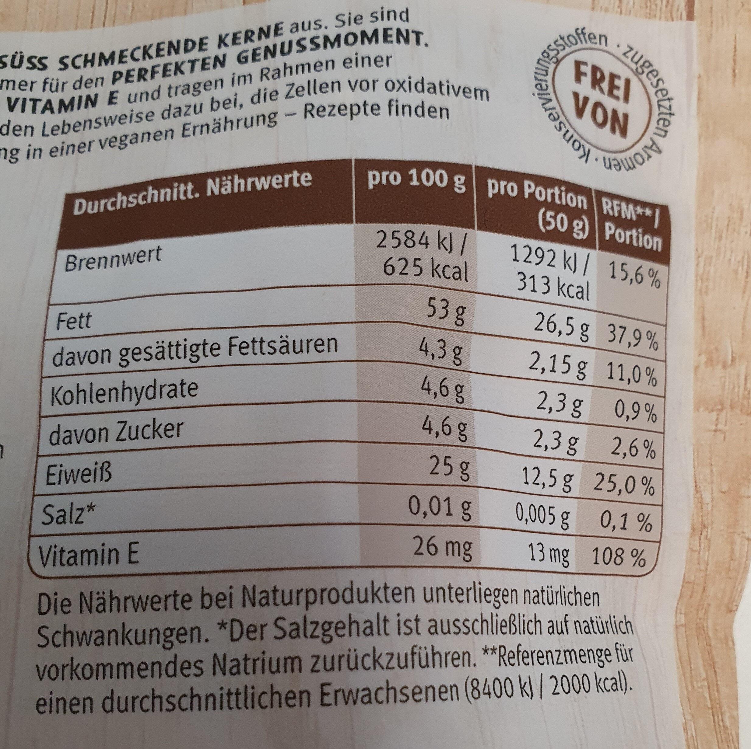 Mandel naturbelassen - Nutrition facts - de