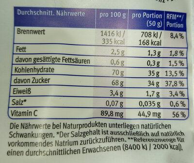 Bio-Mango - Nutrition facts - de