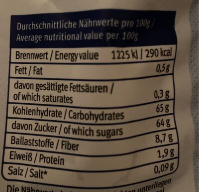 Dattel - Nutrition facts - fr