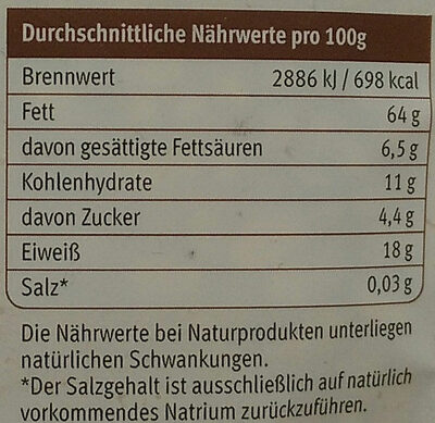 Pinienkerne - Nutrition facts - de