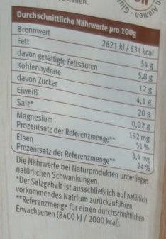 feine Nusskern Mélange naturbelassen - Voedingswaarden